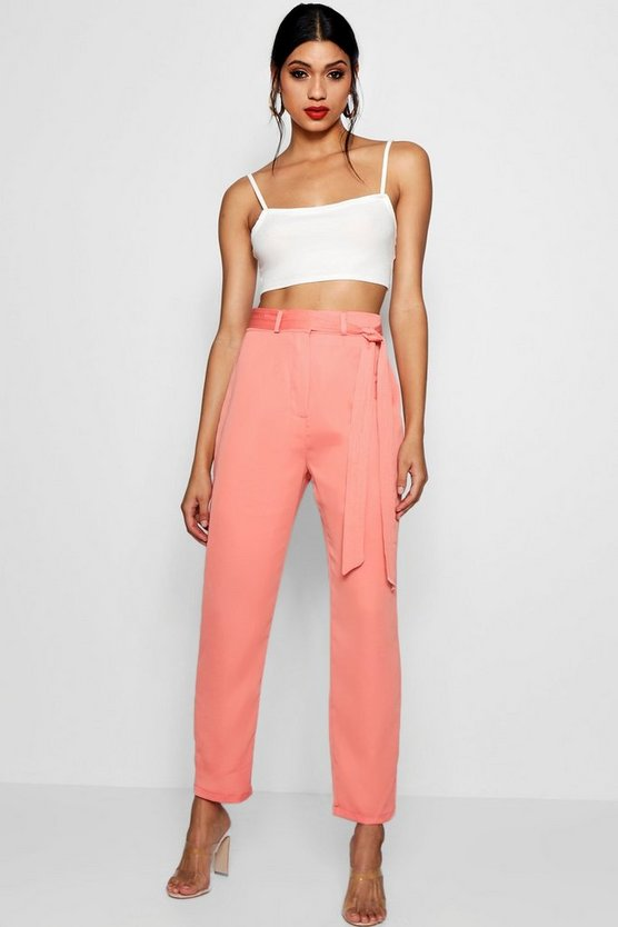 Womens Coral blush Tie Waist Woven Satin Slimline Trousers