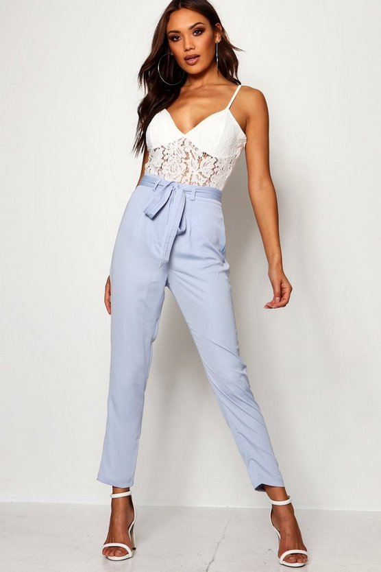 Womens Pastel blue Tie Waist Woven Satin Slimline Trousers