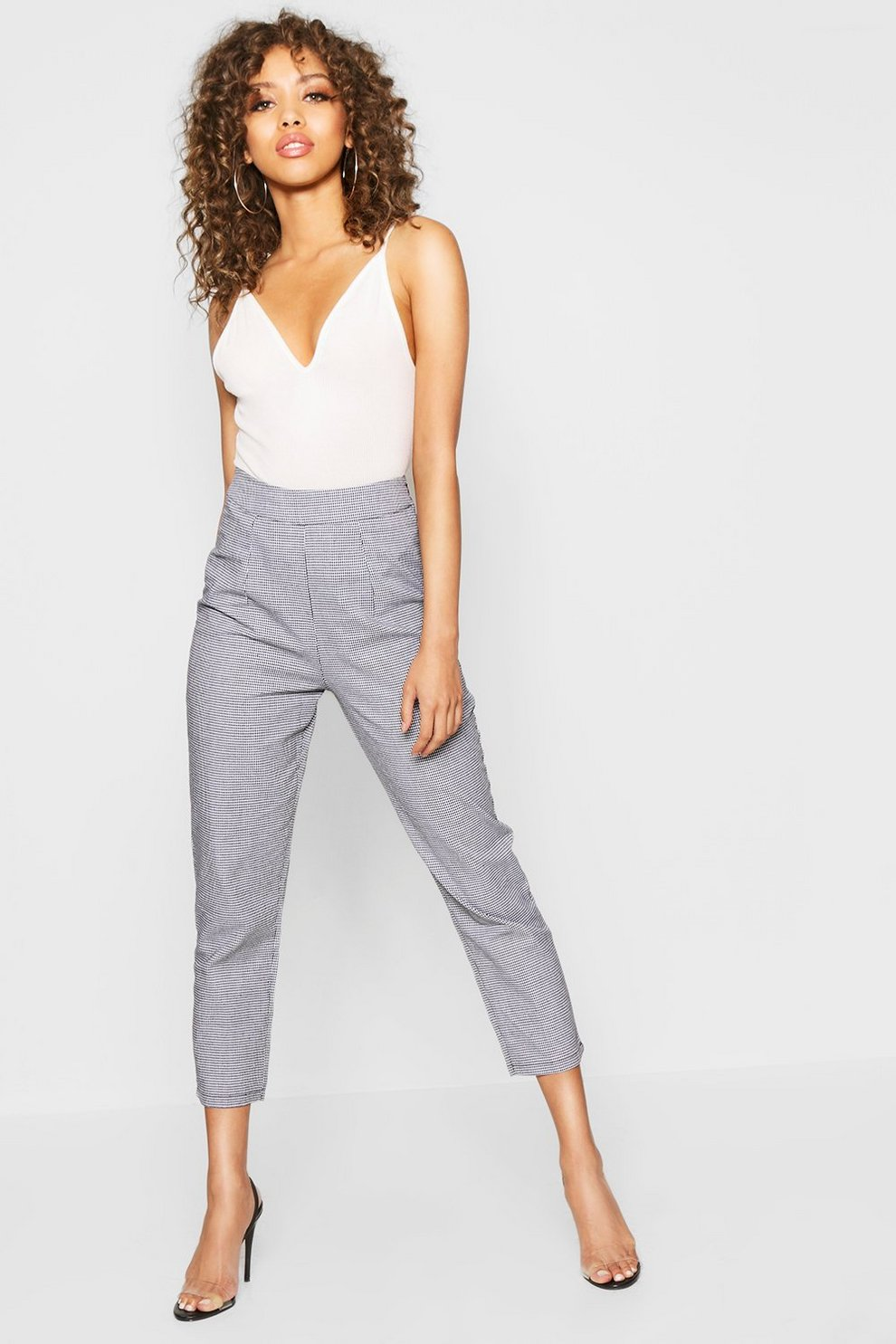 ab6ba09248e5 Woven Dogtooth Slim Fit Trousers | Boohoo