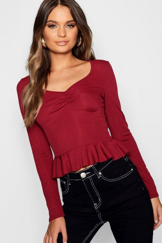 Rib Sweetheart Neck Ruffle Crop