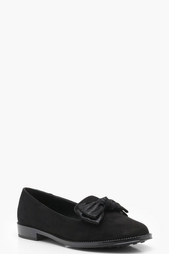 Womens Black Bow Trim Loafers