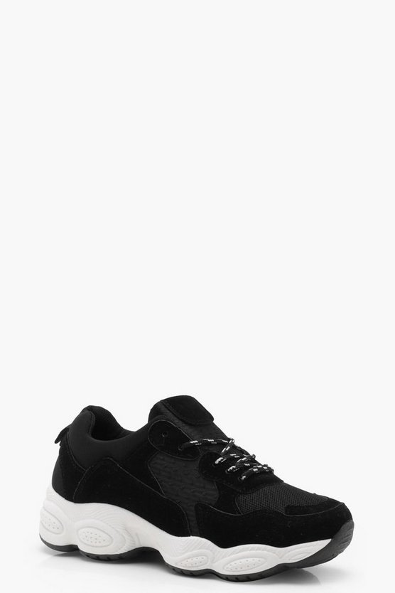 Womens Black Chunky Sole Trainers