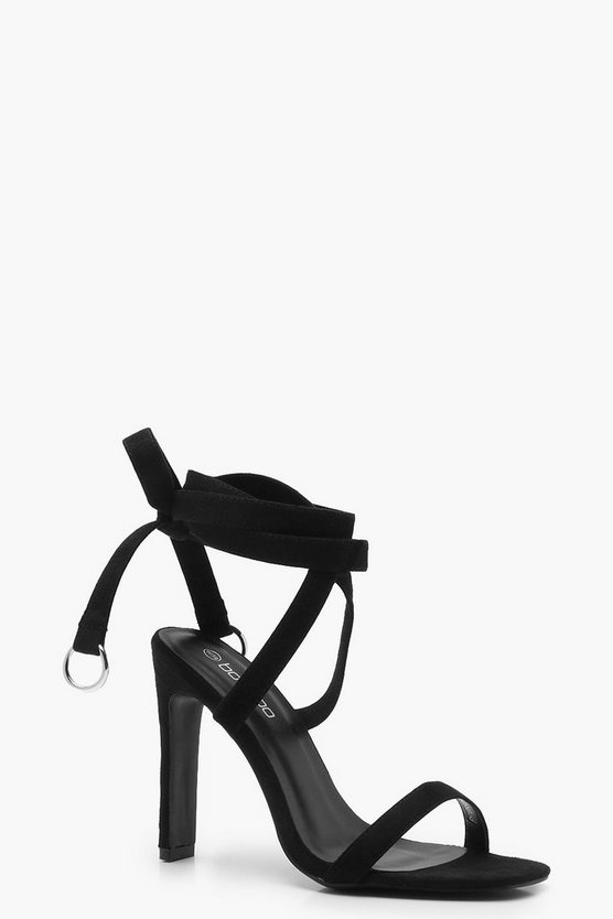 Womens Black Wrap Strap D Ring Sandals