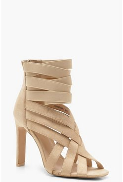 Womens Nude Cross Strap Cage Sandals