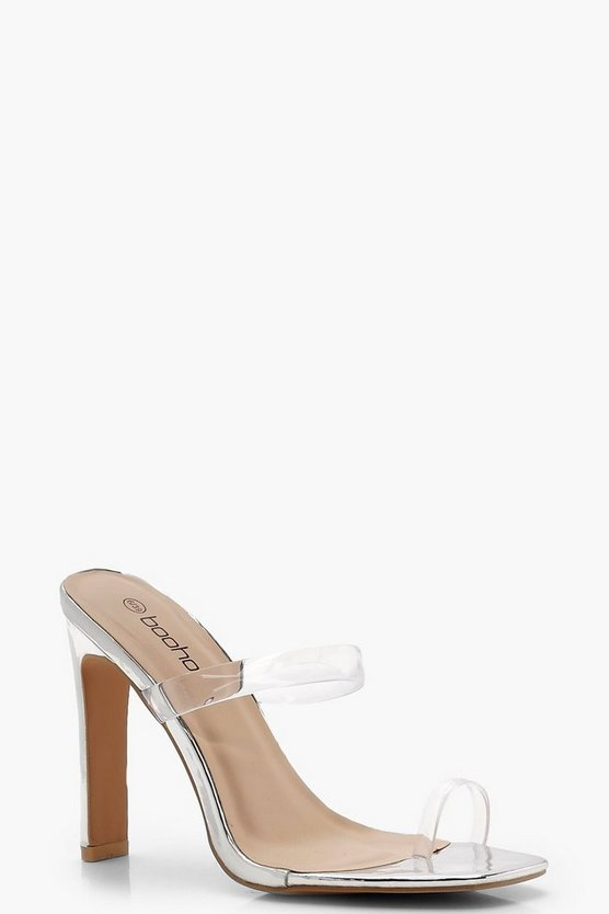Clear Strap Skinny Mule Heels, Silver, Donna