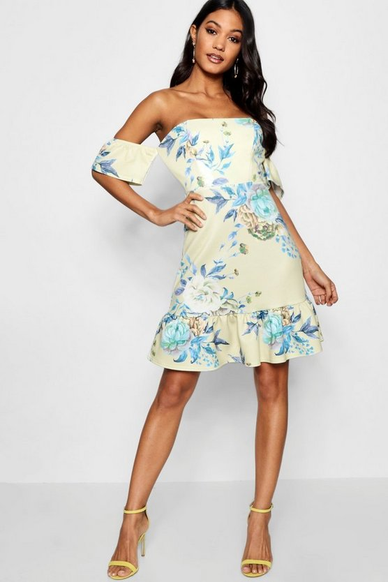 Floral Off Shoulder Frill Hem Bodycon Dress