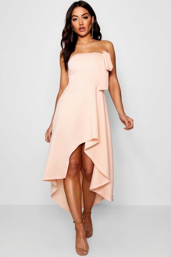 Bandeau Full Skirt Midi Skater Dress