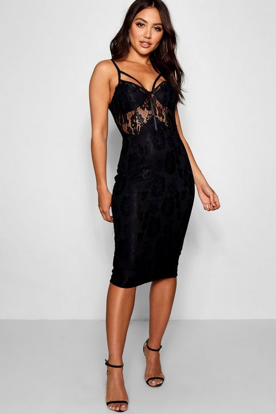 Womens Black Lace Harness Midi Dress