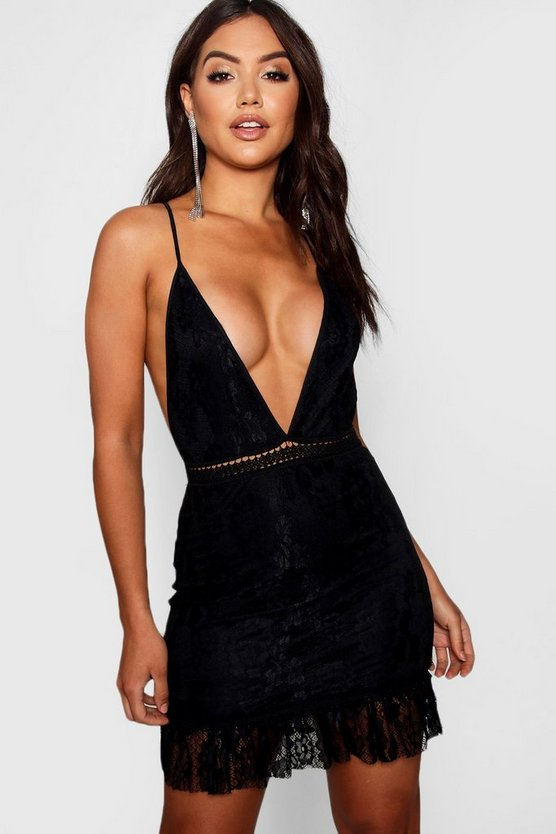 Womens Black Lace Ruffle Hem Bodycon Dress