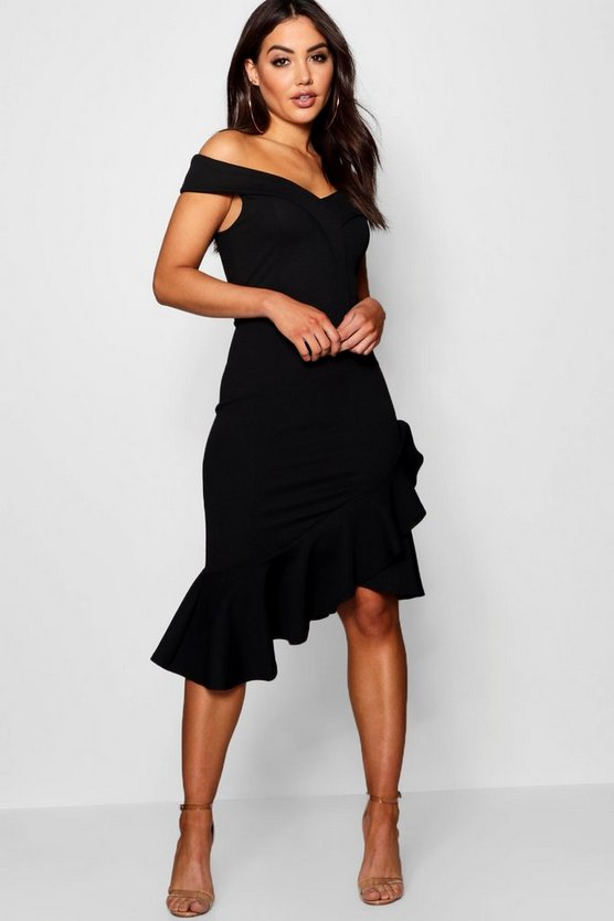 Womens Black Off the Shoulder Ruffle Hem Midi Dress