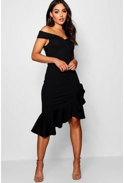 Womens Off the Shoulder Ruffle Hem Midi Dress