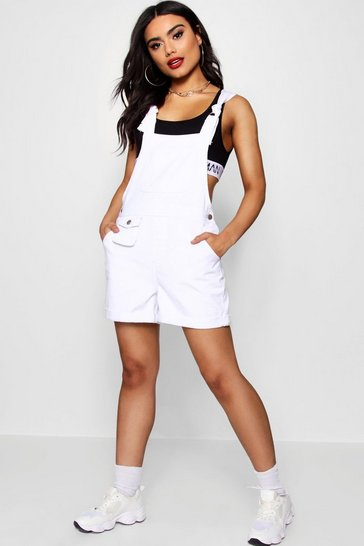 Womens White D- Ring Tie Shoulder Denim Dungaree Shorts