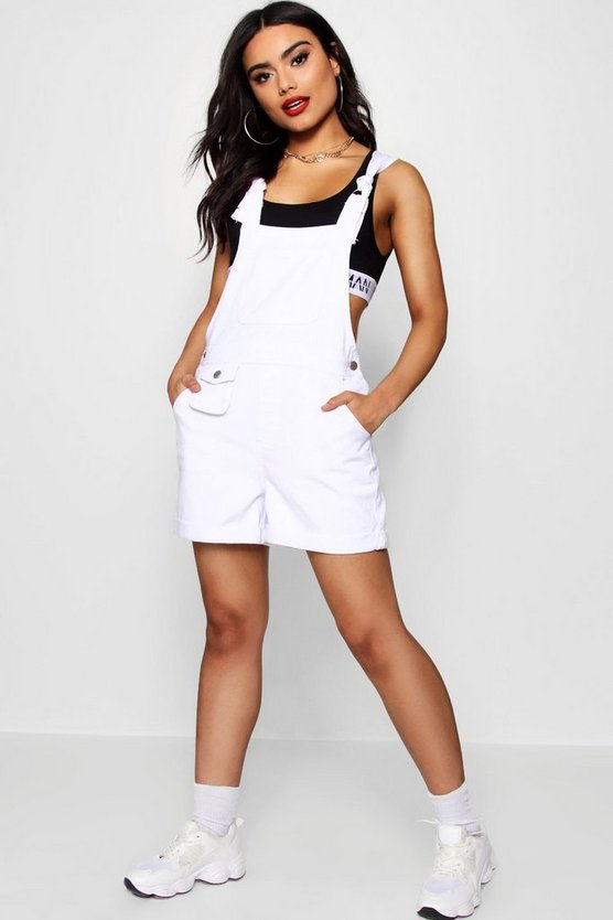 Womens White D- Ring Tie Shoulder Denim Overall Shorts