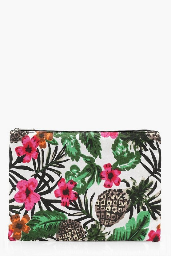 Womens White Tropical Print Clutch