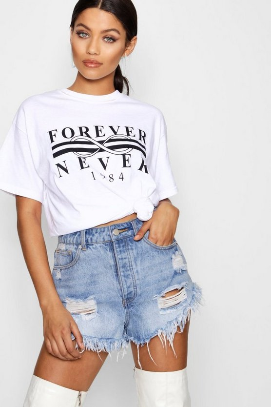 Womens White Forever Never Slogan Tee