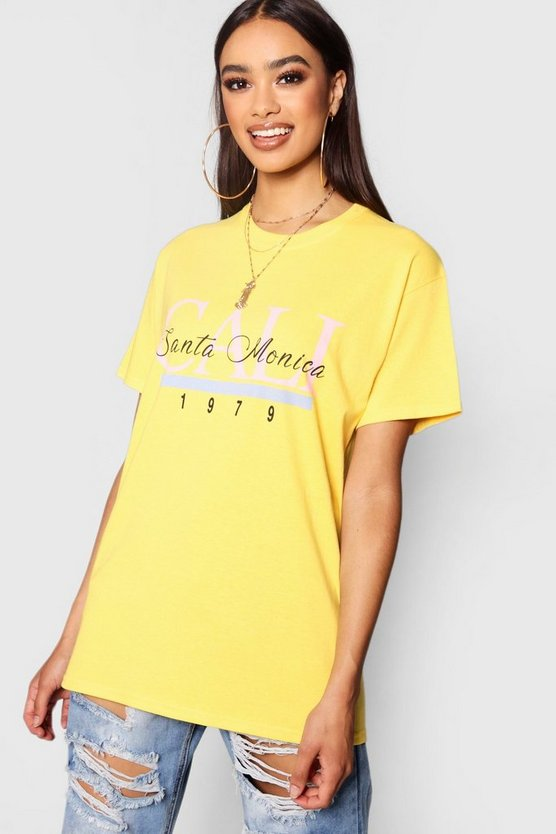 Womens Yellow Santa Monica Slogan Tee