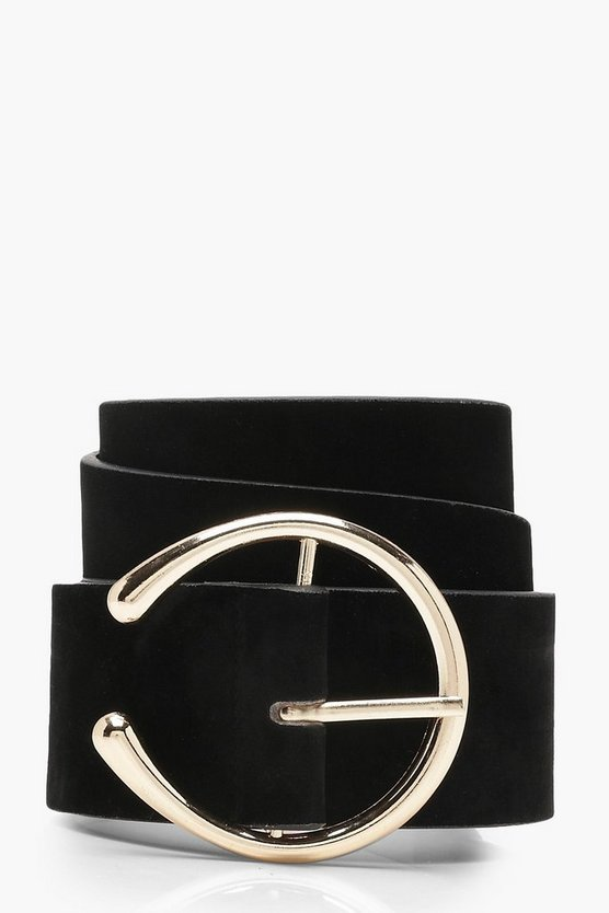 Womens Black Split O Ring Chunky Boyfriend Belt