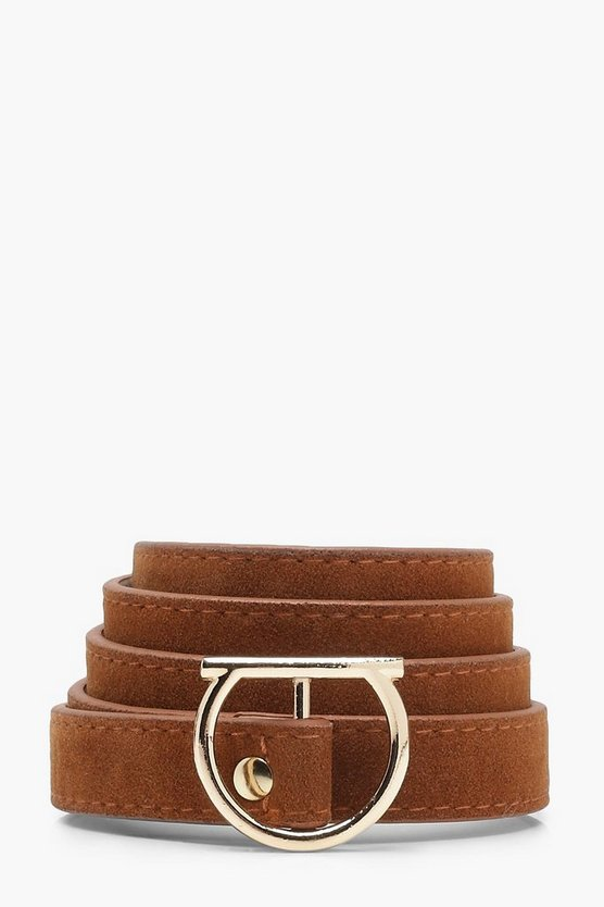 Womens Tan Lola Suedette Skinny Flat O Ring Belt