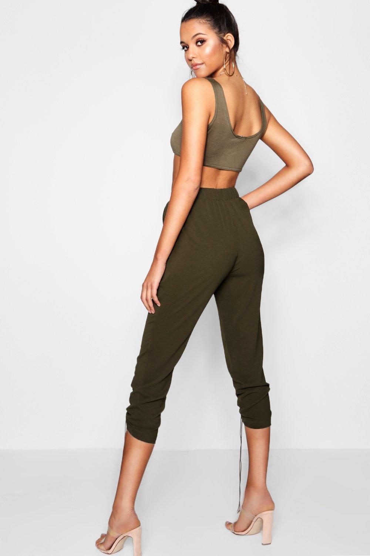 estilo Pantalones militar ajustable de de caqui cordón w4H4qIF