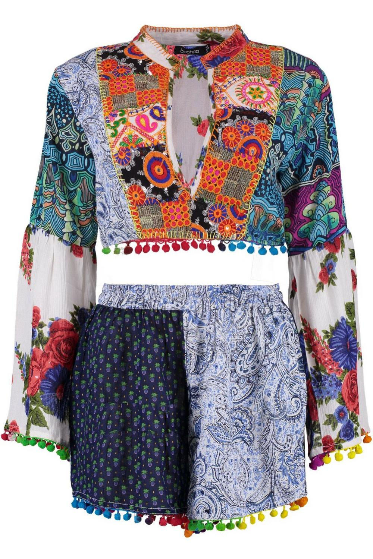 de con corto cortos adornos y rosa Conjunto top pantalones vxnAYAdp