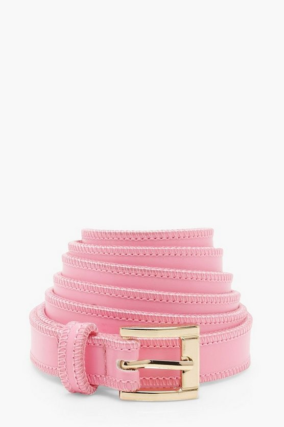 Womens Pink Long Length Tie Skinny PU Belt