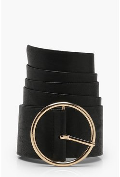 Womens Black O Ring And Eyelet PU Waist Belt