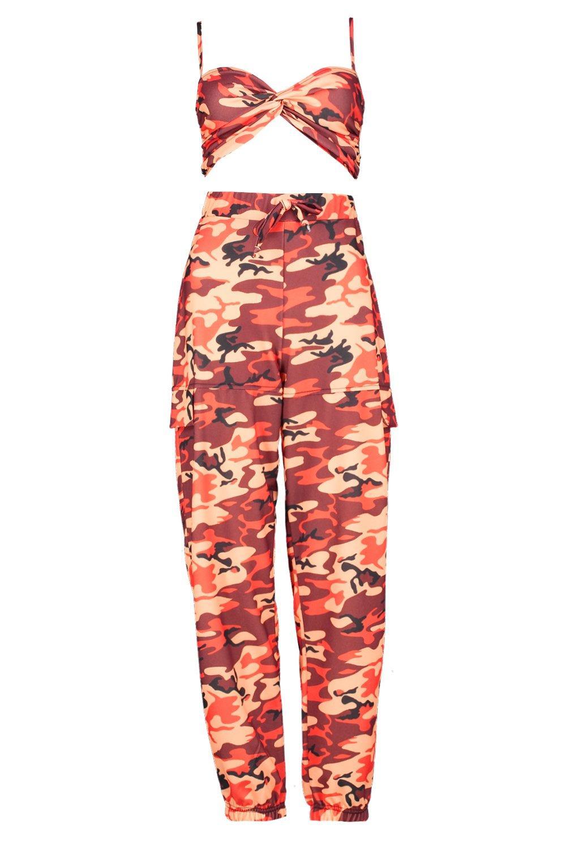 palabra pantalones naranja de Conjunto camuflaje de de militar estilo y de wZYRqT5