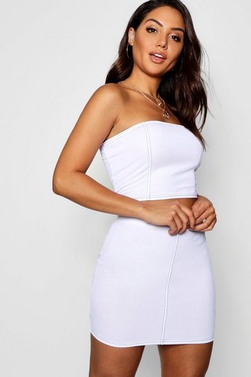 Womens White Contrast Stitch Top and Skirt Co-ord
