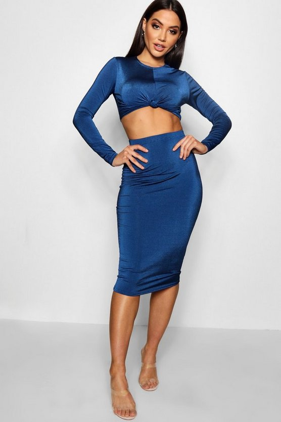 Knot Long Sleeve Front Crop and Midi Skirt