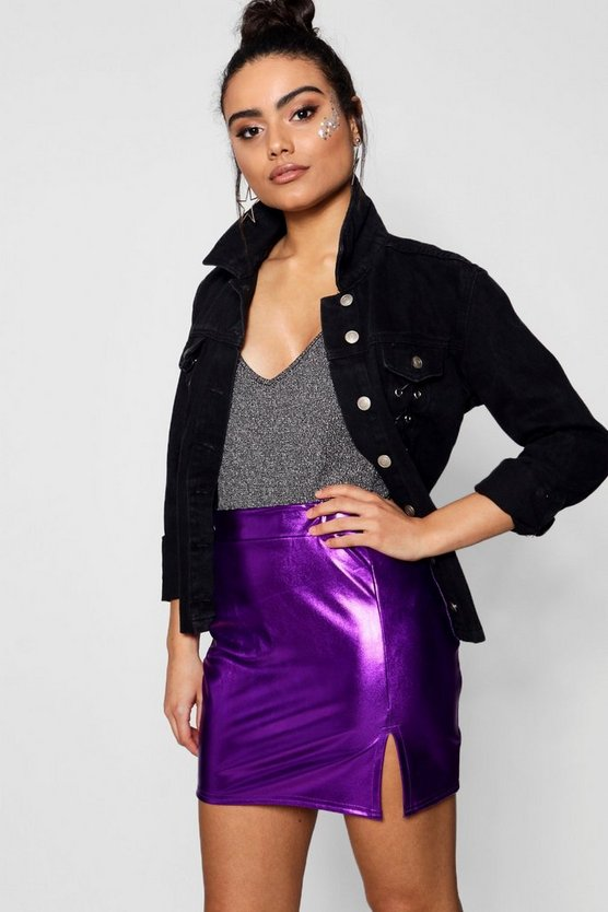 Womens Blackcurrant Metallic Foil Split Mini Skirt