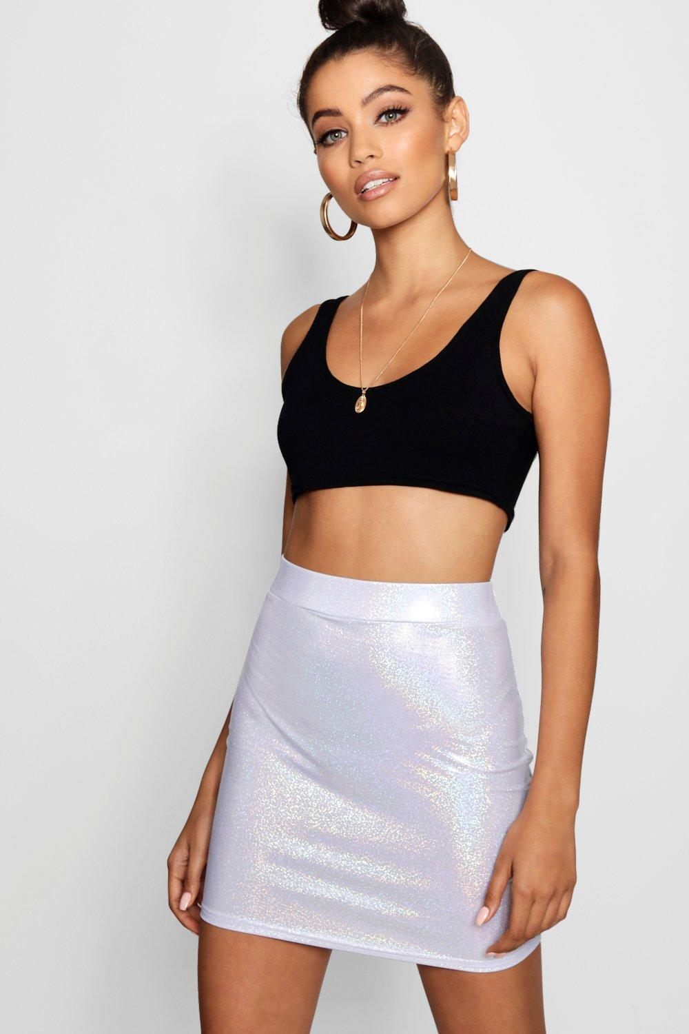 eb9d835e4c51 Womens Silver Holographic Stretch Mini Skirt. Hover to zoom