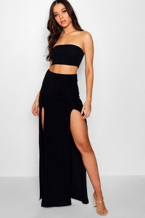 Womens Black Double Split Slinky Maxi Skirt