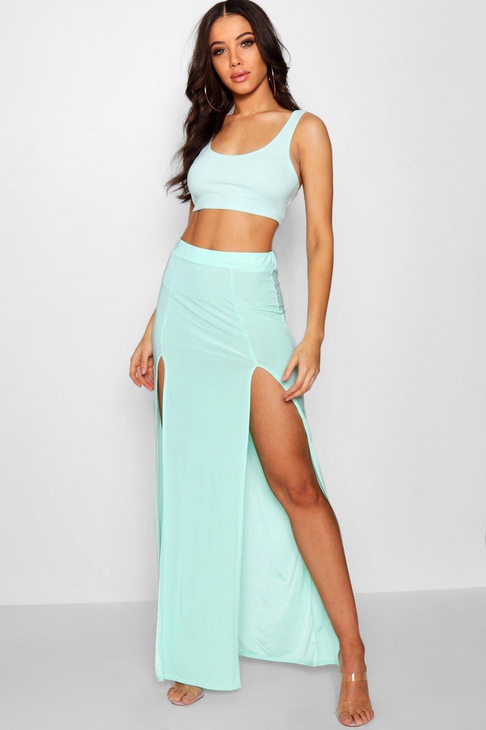 be3b60c1bd Womens Mint Double Split Slinky Maxi Skirt