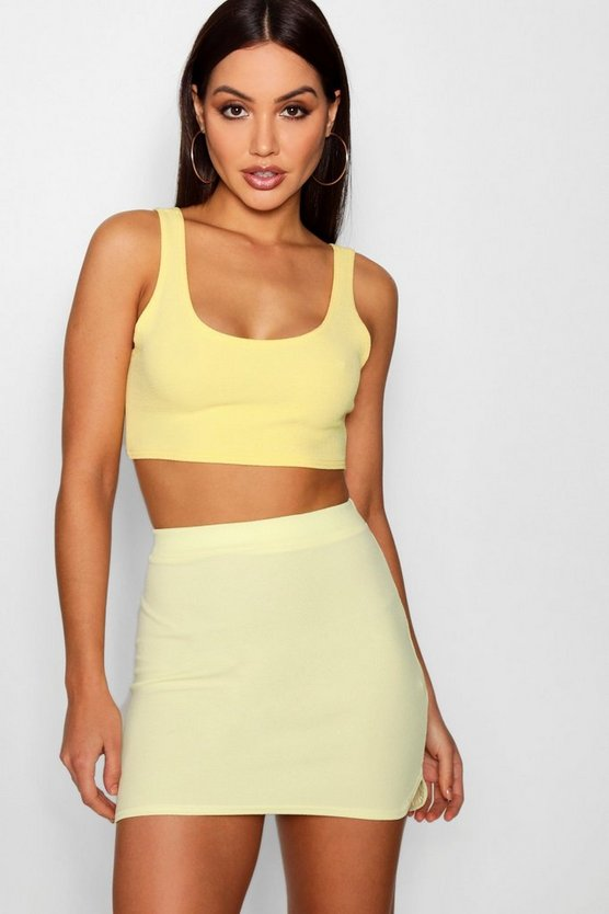 Crepe Curved Hem Micro Mini Skirt
