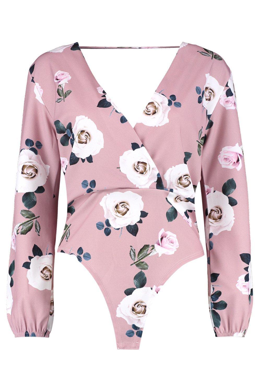 Long Bodysuit Floral rose Wrap Sleeve 7wYqx1