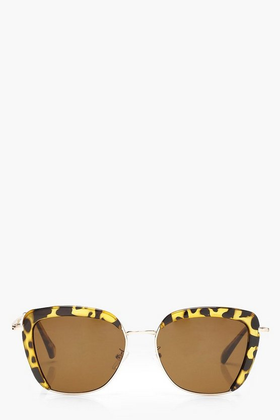 Tortoiseshell Edge Retro Sunglasses