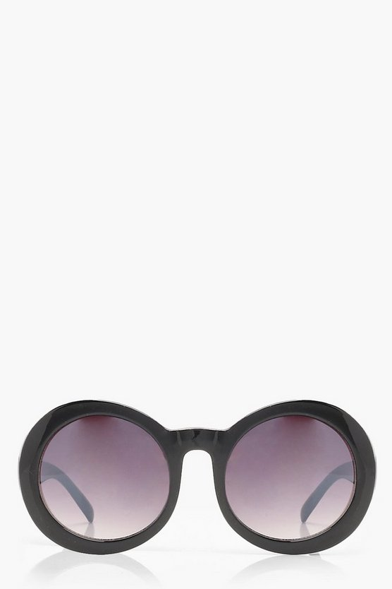 Womens Black Oversized Retro Round Sunglasses