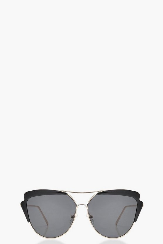 Womens Black Cat Eye Brow Bar Sunglasses
