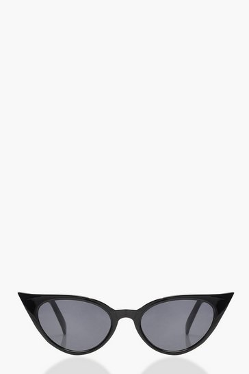 Black Extreme Slim Cat Eye Sunglasses