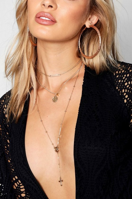 Womens Gold Coin & Cross Layered Plunge Necklace