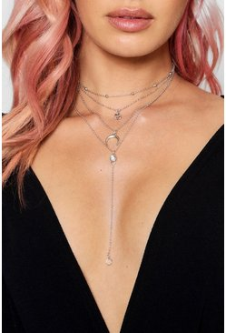 Womens Silver Horn And Diamante Layered Necklace