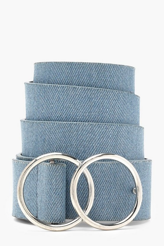 Womens Double Ring Denim Boyfriend Belt