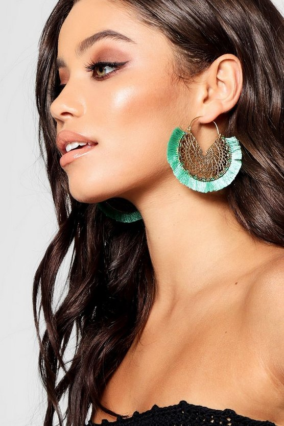 Boho Filigree Fringed Tassel Earrings