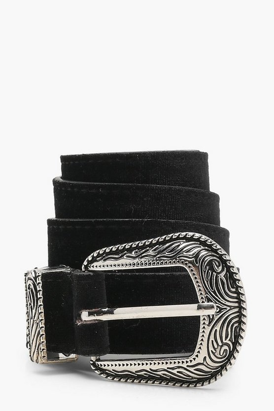 Womens Black Velvet Western Boyfriend Belt