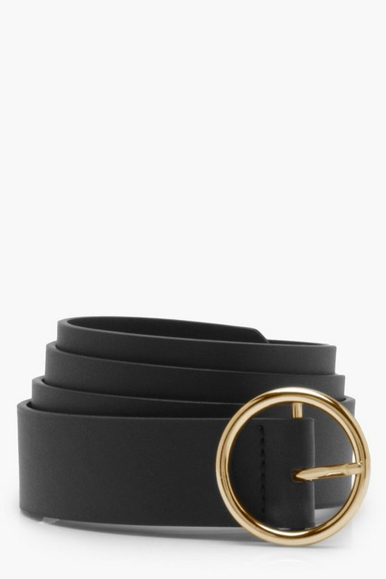Womens Black Circle Ring Belt