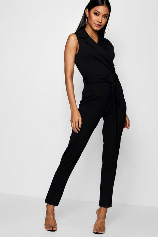 Womens Black Collared Belted Jumpsuit