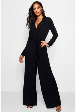 Womens Black Wide Leg Lapel Wrap Belted Jumpsuit