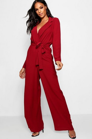 Womens Burgundy Wide Leg Lapel Wrap Belted Jumpsuit