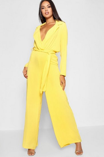 Womens Mustard Wide Leg Lapel Wrap Belted Jumpsuit