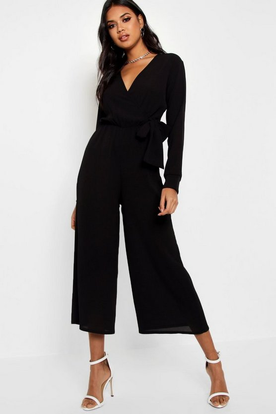 Womens Black Wrap Over Woven Jumpsuit